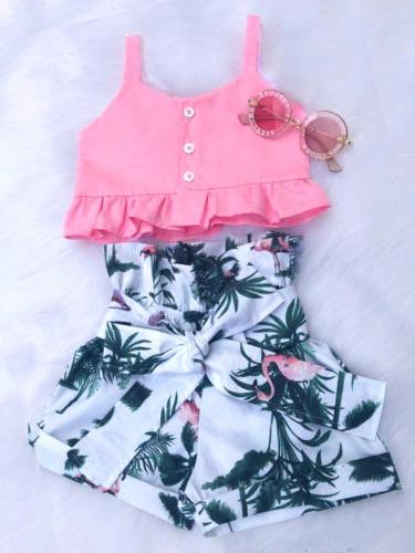 USA Toddler Baby Girl Vest Crop Short Pants Outfits Clothes Summer