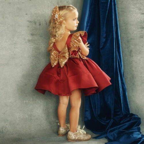 USA Toddler Baby Dress Princess Sequin Birthday Pageant