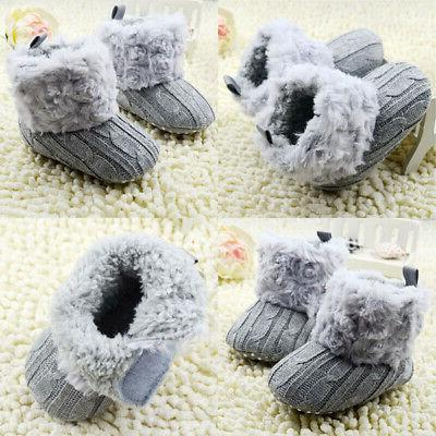 New Girl Cotton Knitted Boots Warm Crib Shoes