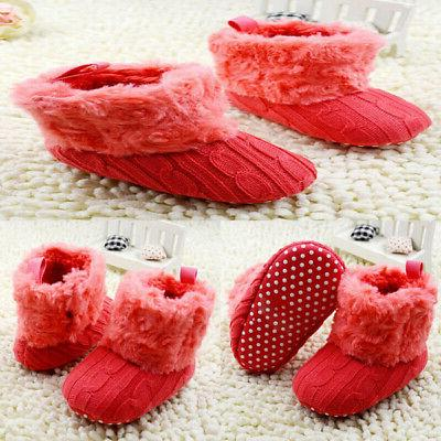 New Infant Cotton Knitted Snow Boots Warm Fur Crib