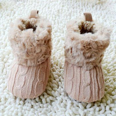 New Infant Baby Girl Cotton Knitted Boots Crib Shoes