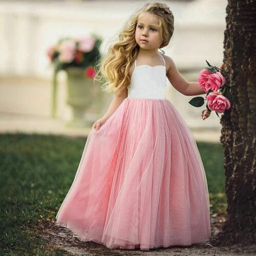 USA Long Princess Girls Dress Flower Solid Lace Formal Dresses