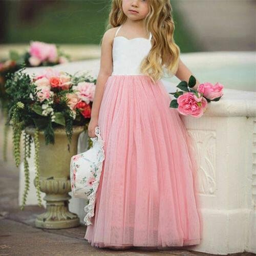 USA Princess Girls Lace Party Formal Dresses
