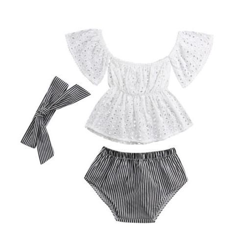 USA Girl Off Lace Striped 3Pcs Clothes
