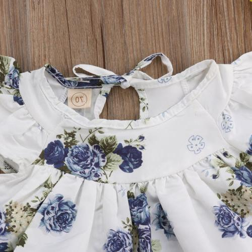 US Baby Floral Tops Dress+Short Summer