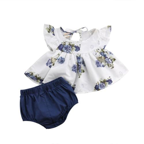 US Newborn Baby Girl Tops Dress+Short Pants Summer