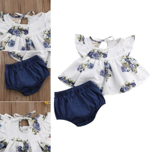 US Newborn Baby Floral Tops Dress+Short Pants Summer
