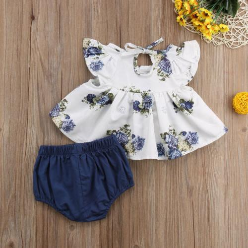 US Baby Girl Floral Dress+Short