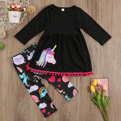 US Girl Unicorn Outfit T-shirt Set