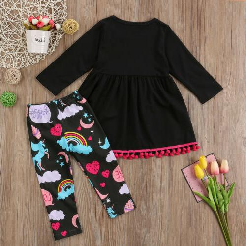 US Toddler Girl T-shirt Top Dress+Long Set