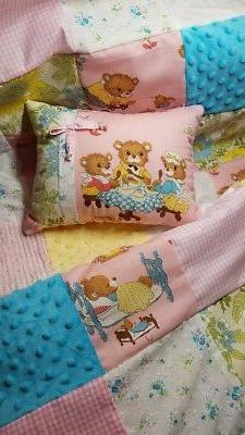 Vintage Three Bears Chenille Shabby Baby Girl Bedding Crib Q