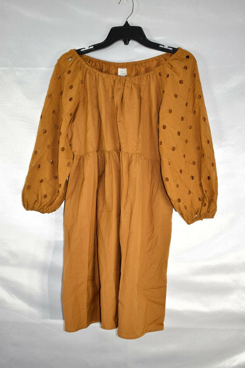 A New Day 3/4 Sleeve Babydoll Dress, Brown, Size NwT