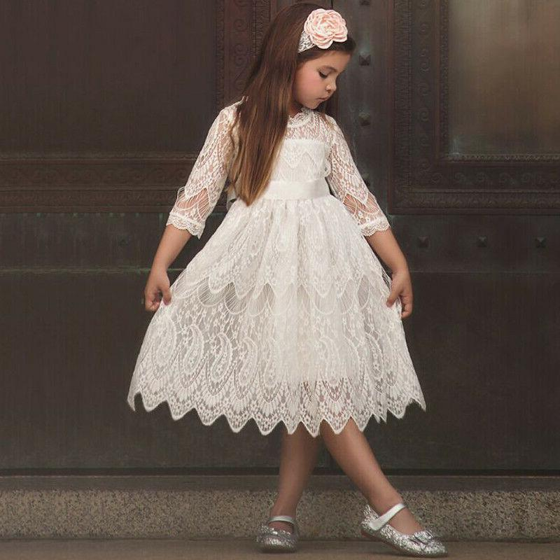 XMAS Kids Lace Princess Tulle Party 3-8Y