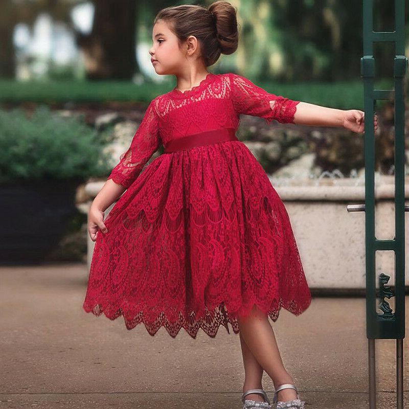 XMAS Baby Girls Lace Flower Party 3-8Y