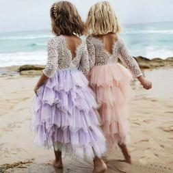 Lace Flower Girl Baby Kids Birthday Party Tutu Princess Brid
