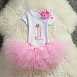 Little Baby Girl 1st Birthday Tutu Mesh Dress Outfits Infant