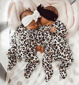 Long Sleeve Newborn Baby Girl Leopard Print Romper Jumpsuit