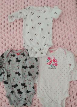 Lot Of 3 baby girls long sleeve onsies size 3 months Pink Re