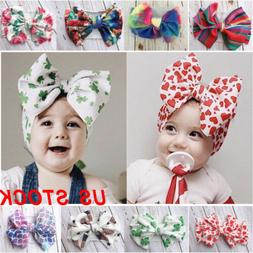 Lovely Baby Cotton Big Bow Tie Head Wrap Turban Top Knot Hea