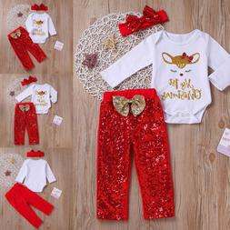 Lovely Newborn Baby Boy Girl My 1ST Christmas Clothes Romper