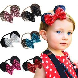 Minnie Mouse Ears Bow Headband Kids Baby Girl Sequin Party H