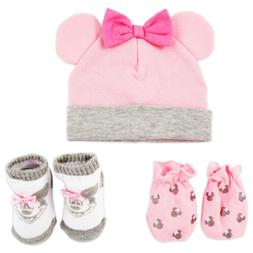 Disney Minnie Mouse Hat, Mitts and Socks Take Me Home Gift S