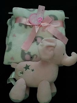 Mixed Lot: Baby Girl Elephant Print Blanket & CARTERS Pink M