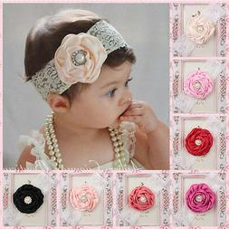 Multicolor Baby Girl Lace Pearl Flower Head Band Hair Access