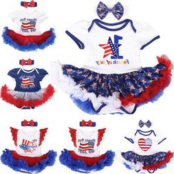 My 1st 4th of July Tutu Romper Dress with Headband Clothes O