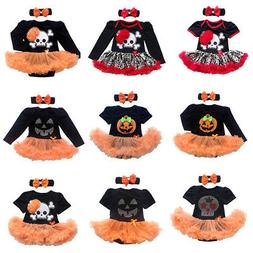 My 1st Halloween Newborn Baby Girl Romper Tutu Dress Headban