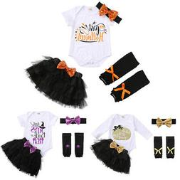 My 1st Halloween Outfit Baby Girl Romper Tutu Skirt Headband