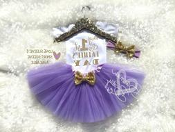 My First Fathers Day Baby Girl Outfit Purple And Gold Girls
