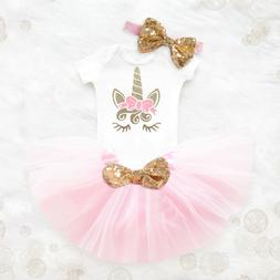 My Little Girl Baby 2nd Birthday Dress Unicorn Outfits Party