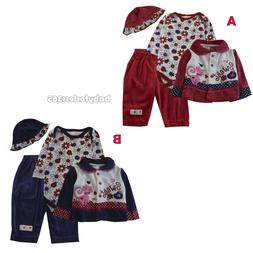 New Nannette 4 Pcs Lot Baby Girls Gift Sets Clothes Outfits