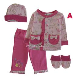 New Mon caramel 4 Pcs Lot Baby Girls Gift Sets Clothes Outfi