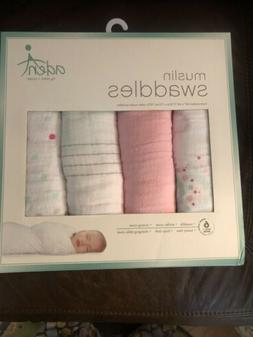 NEW ADEN by Aden + Anais Girl 4 Pack Muslin Swaddle Blankets