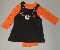 NEW Baby Girl First Halloween Outfit Cat Jumper Dress Long S