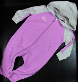 New PUMA Baby Girl Hooded Romper 1 Piece Bodysuit Purple Out