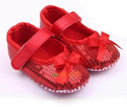 NEW Baby Girl Red Sequin Bow Mary Jane Crib Shoes 0-6 6-12 1