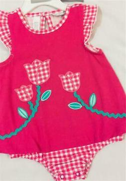 New Baby Girls 6-9 Months Romper Outfit One-Piece Pink Tulip
