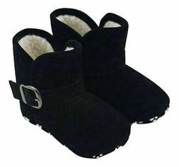 NEW Baby Girls Black Faux Fur Boots Soft Sole Crib Shoes 0-6