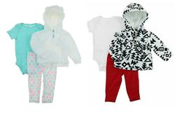 NEW Carter's Baby Girl's 3-Piece Matching Outfit Set