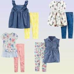 New Carter's Baby/Toddler Girls 2-Piece Set Playwear Outfits