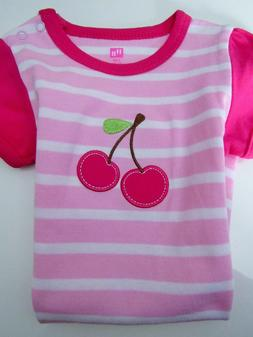 New Hudson Baby Girl Pink Cotton Striped Cherry Romper