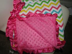 NEW Hot pink soft knit Baby Nursery Receiving Blanket Satin