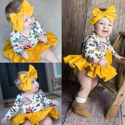 New Infant Baby Girls Cute Floral Romper Skirt Headbands Out