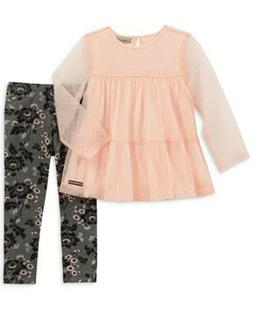 NEW Calvin Klein Jeans Baby Girls 2PC Pink Mesh Tunic & Flor