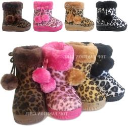 New Leopard Print Baby Boots Soft Faux Fur Toddler Boys Girl