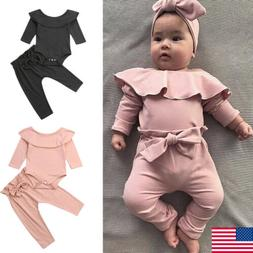 NEW Newborn Infant Baby Kids Girl Long Sleeve Romper+Pants O