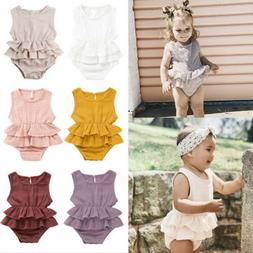 New Summer Newborn Kid Baby Girl Clothes Sleeveless Romper T